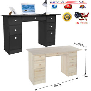 Study Computer Desk Laptop Pc Table Workstation With Drawers For Home Office O