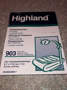 Highland 903 Transparency Film For Copiers Removable Stripe 100 Sheets Nip