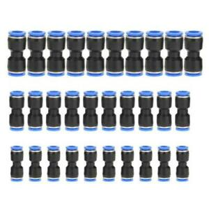 30x Straight Push Connectors Pneumatic Connectors Air Line Fitting 6mm 8mm 10mm