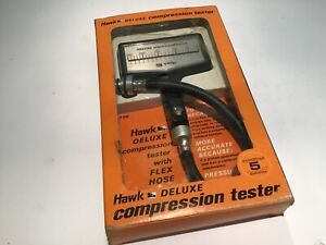 Vintage Compression Tester Hawk Deluxe Standard Metric Reading New