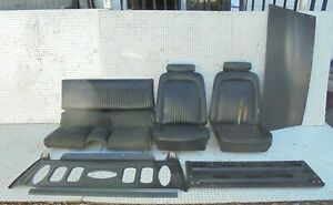 1969 Mustang Fastback Front Buckets Rear Non Fold Down Seat Black