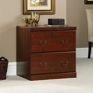 2 Drawer Cabinet Classic Cherry Finish Home Office Locking Lateral File Holder