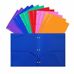 Plastic Pocket Folders With 3 Hole heavy Duty Star Folders assorted Colors pack