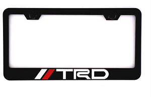Stainless Steel Heavy Trd Black License Plate Frame Cover Screw Cap Fit Toyota