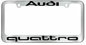 New Stainless Steel Chrome For Audi Quattro License Plate Frame Cover Screw Caps