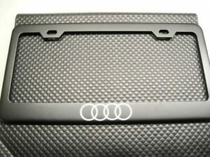 Stainless Steel For Audi Black License Plate Frame Cover W Screws Caps Rust Free
