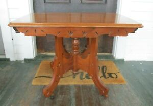 Antique Oak Wood Eastlake Victorian Parlor Side Coffee Serving Table