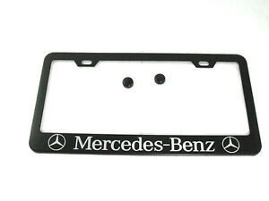 New Stainless Steel For Mercedes benz Black License Plate Frame Cover W cap Scre