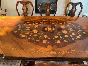 Exquisite Antique Dining Room Set With 10 Chairs