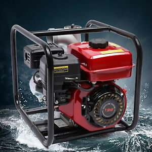 4 Stroke 7 5hp Gas Powered Water Pump Flood Irrigation Portable Water Transfer
