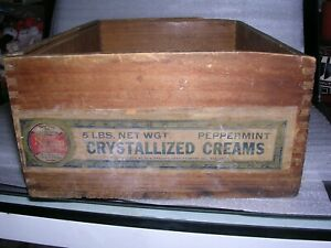 Vintage Wooden Box Crate Crystallized Creams Paper Label 7 X 10 1 4