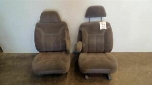 Pair Of Front Bucket Seats Grey Cloth Electric From 1995 Chevy Tahoe 7277609