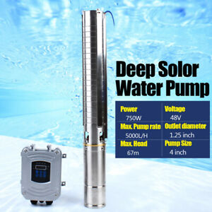 Solar Pump Solar Water Well Bore Submersible W Controller 4 Dc 48v 750w Us New