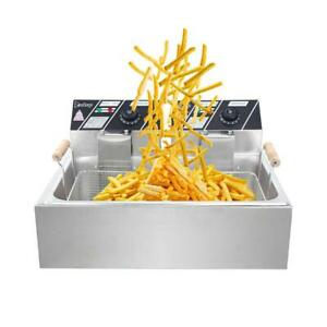 Zokop Xl Electric Deep Fryer Single Tank Fry Basket Commercial 5000w 22l