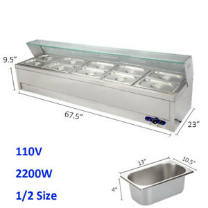 10 well Commercial Bain marie Buffet Countertop Food Warmer Spray Guard 110v