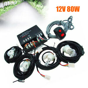 Hide a way 80w 4 Led Hid Bulbs White Hazard Emergency Warning Strobe Light Kit