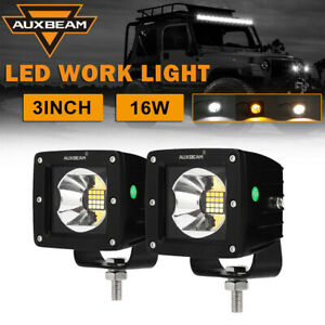 Pair 3 Inch 16w Led Work Light Pods Amber White Flood Offroad For Jeep Suv Atv