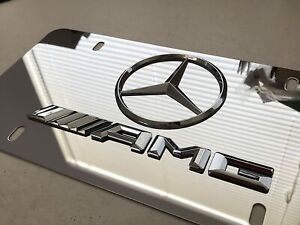 3d For Mercedes Benz Amg Chrome Stainless Steel Front License Plate Screw Cap