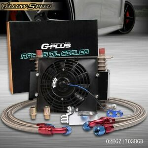 15 Row 10an Universal Engine Transmission Oil Cooler Kit 7 Inch Electric Fan