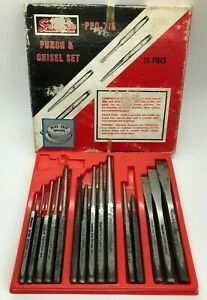 Vtg 15pc Snap On Tools Ppc715 Punch Chisel Set Lot Pin Starter Center Box Tray