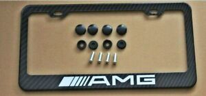 Amg Carbon Fiber Look License Plate Frame Cover Stainless Steel For Mercedesbenz
