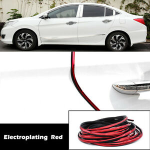 Edge Trim Rubber Seal Auto Car Door Window Guard Strip U Channel Chrome Red