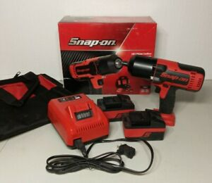New Snap On 18v Lithium Cordless Impact Wrench Kit Ct8850 2 Batteries Charger