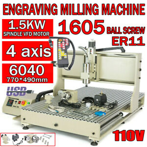 4axis Cnc 1500w 6040 Router Engraving Usb Port Machine Metal Milling Drilling Us