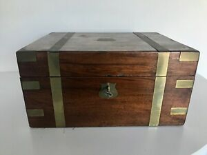 Antique Victorian Walnut Brass Campaign Writing Box Slope Secret Drawers
