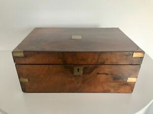Antique Victorian Walnut Brass Campaign Writing Box Slope