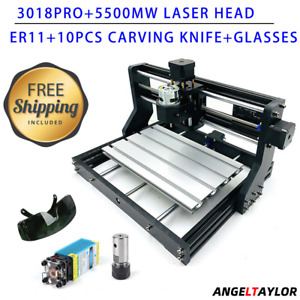 Cnc 3018 Pro Engraving Machine 3 Axis Router Pcb laser Head 5500mw Fast Shipping