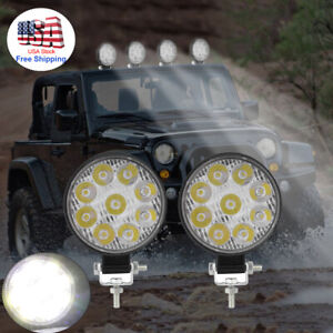 2pcs 27w Spot Round Combo 9led Work Lights Offroad Fog Driving Drl Suv Atv Truck