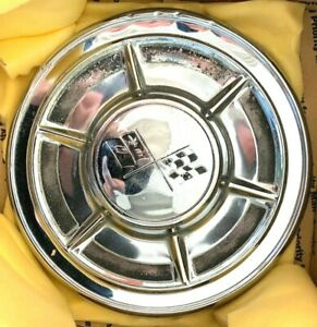 Vintage 1960 62 Chevy Corvette Big Brake Dog Dish Poverty Original Hubcaps 4