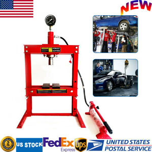 10 Ton Hydraulic Shop Press Floor Stand Jack Bench Top Mount Three Stage 178mm