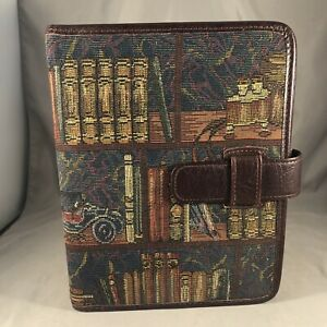 Day timer 7 Ring Tapestry Leather Bookshelf Theme Planner Binder Franklin Covey