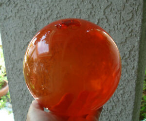 Vintage Approx 6 Diameter Glass Fishing Float Unusual Red Orange Color