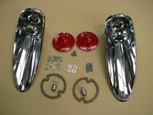 56 57 Corvette Complete Tail Lamp Assembly Lights Lamps Light Lens Rear Pair
