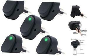 5pcs Waterproof Led Lighted Rocker Switch Toggle 12v 30a Spst 3 Pin On off Gree
