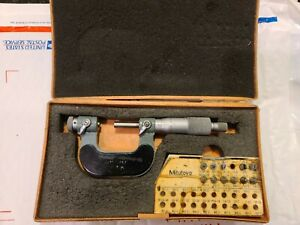 Mitutoyo 126 137 0 1 Screw Thread Pitch Micrometer Mic W 5 Anvil Sets