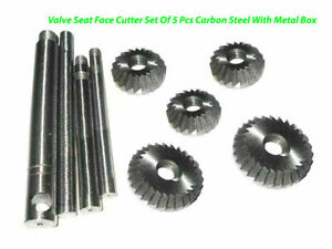 Valve Seat Face Cutter Set Of 5 Pcs Carbon Steel With Metal Box