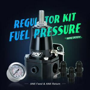 Adjustable Fuel Pressure Regulator 14 36 Psi Black Universal Fpr Guage Kit E85