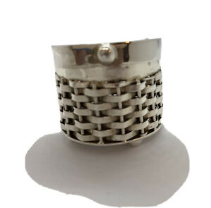 Mexican Sterling Silver Trinket Pill Box Woven Sides Ball Feet Desk Accessory