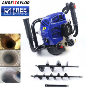 Gas Powered Post Hole Digger W Auger Bits 52cc 2 stroke Power Engine Motor New