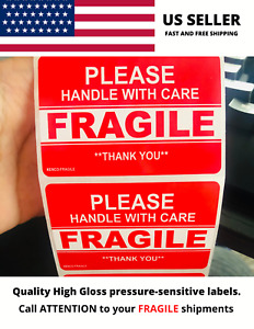 Fragile Handle With Care Thank You Label 3x2 Red Sticker 10 20 30 40 50 Labels