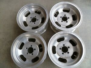 Set Of 4 Vintage Aluminum Slot 14x7 Wheels Rim Truck Pattern 5x4