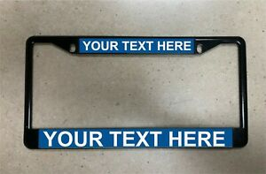 Black Metal License Plate Frame With Customized Engraving Plates Standard Size