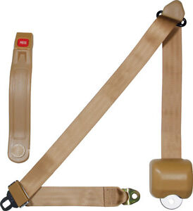 Allstar Seat Belt Retractable 3 Three Point Tan Street Rod Hot Rod Seat Belts