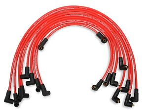 Mallory 604 8mm Red Pro Wire Spark Plug Wire Set Small Block Chevy Skt Cap Over