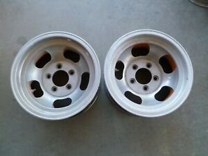 Pair Of Vintage Aluminum Slot 14x7 Wheels Rim Truck Pattern 5 X 4 3 4