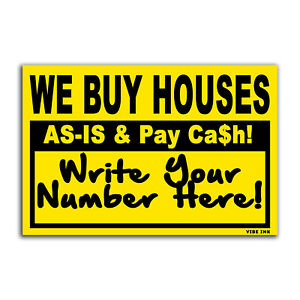 Bundle 100qty We Buy Houses As is Pay Cash Bandit Signs Black Yellow